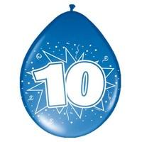 Ballonnen ster 30 cm: 10 jaar - 8 stuks