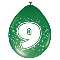 Ballonnen ster 30 cm: 9 jaar - 8 stuks