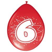 Ballonnen ster 30 cm: 6 jaar - 8 stuks