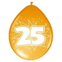Ballonnen ster 30 cm: 25 jaar - 8 stuks