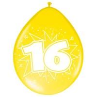 Ballonnen ster 30 cm: 16 jaar - 8 stuks