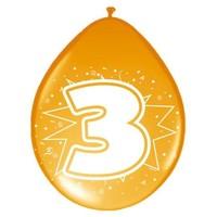 Ballonnen ster 30 cm: 3 jaar - 8 stuks