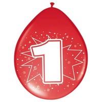 Ballonnen ster 30 cm: 1 jaar - 8 stuks