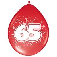 Ballonnen ster 30 cm: 65 jaar - 8 stuks