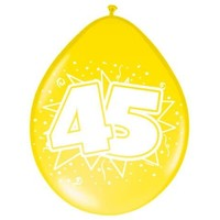 Ballonnen ster 30 cm: 45 jaar - 8 stuks