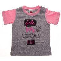 Baby t-shirt ajax roze: girls love soccer