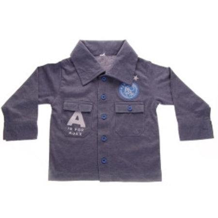 AJAX Amsterdam Baby overhemd ajax blauw: A is for Ajax maat 62/68