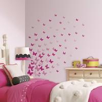 Muursticker Roommates: Pink Flutter Butterflies 45x25 cm