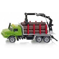 Vrachtwagen met laadkraan en boomstammen SIKU