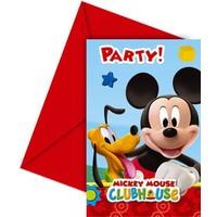Uitnodigingen Mickey Mouse: 6 stuks