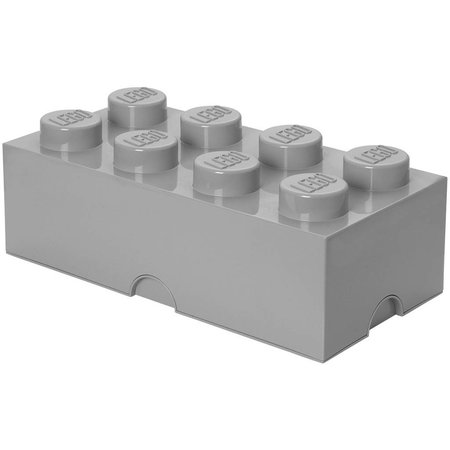 LEGO License LEGO Opbergbox: brick 8 (12 ltr) grijs Stone