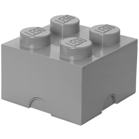 LEGO License LEGO Opbergbox: Brick 4 (6 ltr) - Grijs Stone