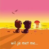 Wenskaart Woezel en Pip: wil je met me