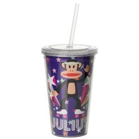 Drinkbeker 500 ml + rietje paars POP Paul Frank