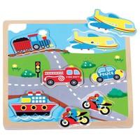 Puzzel geluid New Classic Toys: voertuigen 22x22 cm