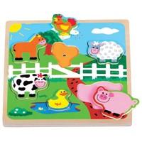 Puzzel geluid New Classic Toys : boerderij 22x22 cm
