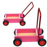Loopwagen/blokkenkar roze Van Bueren 28x13x11 cm