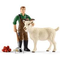 Schleich Boer met geit 42375 - Speelfiguur - Farm World - 7 x 19 x 17 cm