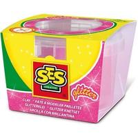 Klei SES: roze glitter 90 gram