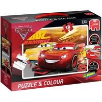 Puzzel en kleur Cars 18 stukjes