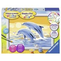 Dolfijnen springend Schilderen op nummer
