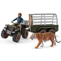 Schleich Quad met aanhangwagen en ranger + tijger 42351 - Speelfigurenset - Wild Life - 22 x 8 x 10 cm