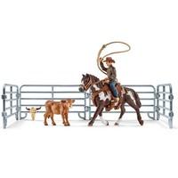Schleich Paard en Kalf Lassovangst met cowboy 41418 - Speelfigurenset - Farm World - 24,2 x 8,2 x 18,9 cm