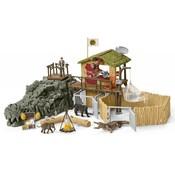 Schleich Croco jungle onderzoeksbasiskamp 42350 - Krokodil Speelfigurenset - Wild Life - 50 x 24 x 20 cm