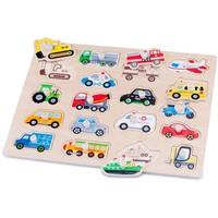 Puzzel knopjes New Classic Toys voertuigen 40x30 cm