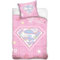 Dekbedovertrek ledikant Superbaby roze 100x135/40x60 cm