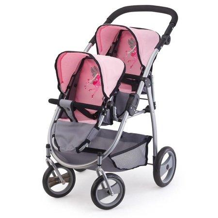 Bayer Poppenwagen Bayer tweelingen grijs/roze