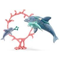 Schleich Dolfijn moeder met kleintjes 41463 - Speelfiguur - Bayala - 19 x 6,8 x 11,5 cm