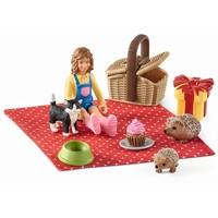 Schleich Picknick set Kat en Egels 42426 - Speelfigurenset - Farm World - 12,3 x 12,2 x 16,5 cm