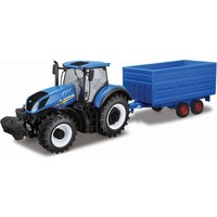 Tractor Bburago New Holland + trailer schaal 1:32