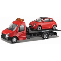 Vrachtauto Bburago Transporter + Fiat 500 schaal 1:43
