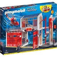Grote brandweerkazerne met helicopter Playmobil