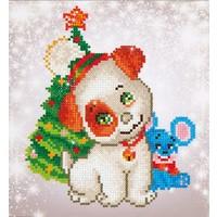 Christmas Pup and Mouse Diamond Dotz: 23x25 cm