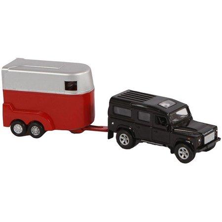 Kids Globe Auto pb Kids Globe Landrover met trailer