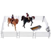 Set van 2 paarden met ruiters en accessoires