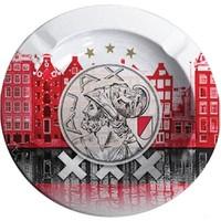 Asbak ajax grachten en logo rood: 11x11 cm