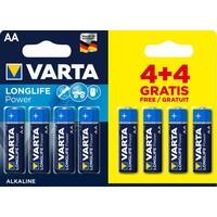 Batterijen Varta Longlife Alkaline AA: 8 stuks