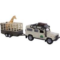 Kids Globe Auto pb Kids Globe Landrover met giraffe trailer