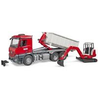 MB Arocs Truck met container en Schaeff HR16 Bruder 03624