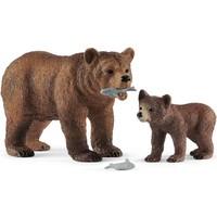 Schleich Schleich Grizzly beer moeder met jong 42473 - Speelfiguur - Wild Life - 10 x 12,5 x 7 cm