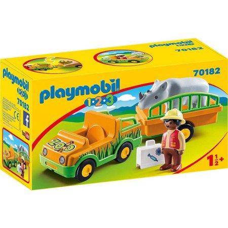 Playmobil 1.2.3. Dierenverzorger met neushoorn Playmobil