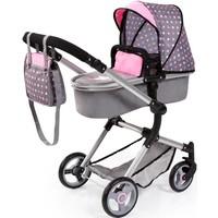 Poppenwagen Bayer Vario Deluxe grijs/roze