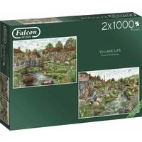 Puzzel Falcon: Village Life 2x1000 stukjes