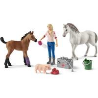 Schleich Dierenverzorgster met merrie en veulen 42486 - Paard Speelfiguur - Horse Club - 5,5 x 19 x 11,5 cm