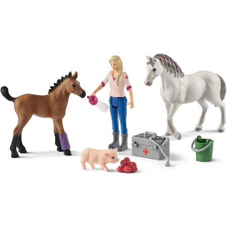 Schleich Schleich Dierenverzorgster met merrie en veulen 42486 - Paard Speelfiguur - Horse Club - 5,5 x 19 x 11,5 cm