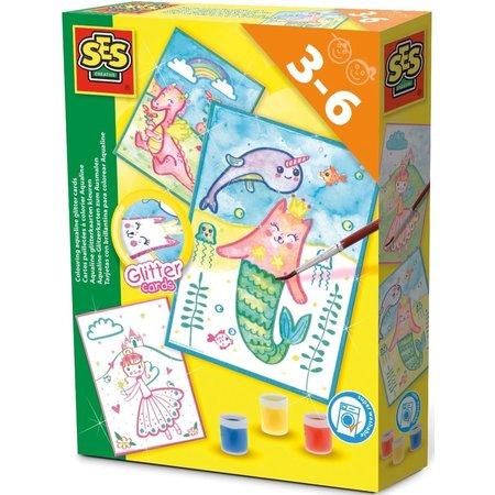 SES Glitterkaarten Aqualine SES